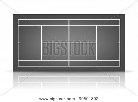 Vector Black Tennis Court With Reflection