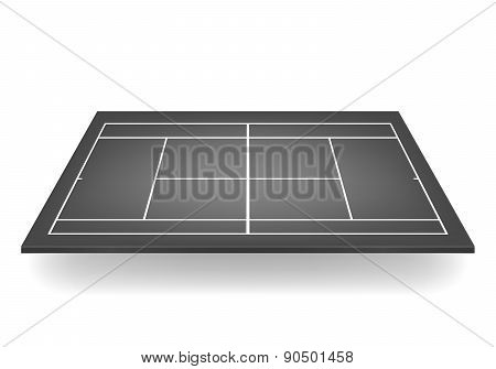 Vector 3D Black Tennis Court