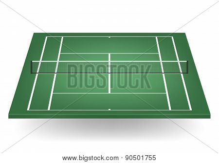 Vector Green Tennis Court With Netting
