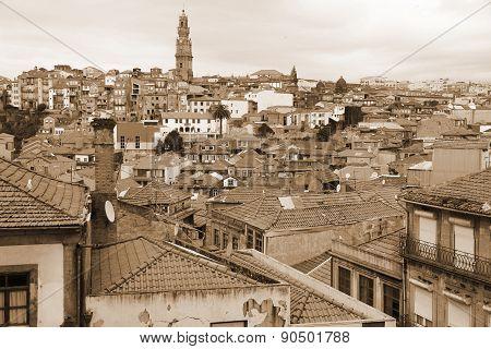Portugal. Porto City. Aerial View. In Sepia Toned. Retro Style