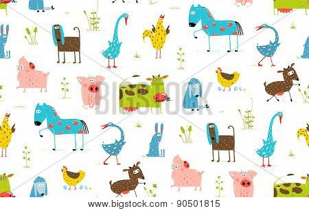 Bright Fun Cartoon Farm Domestic Animals Seamless Background