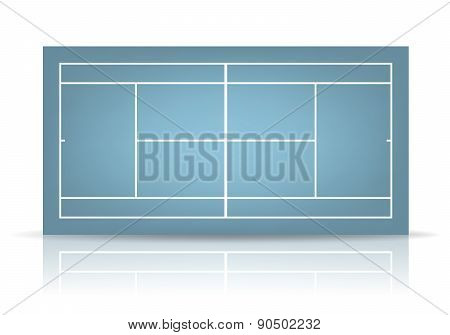 Vector Blue Tennis Court With Reflection