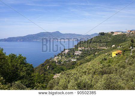 Ligurian coastline panorama, springtime. Color image