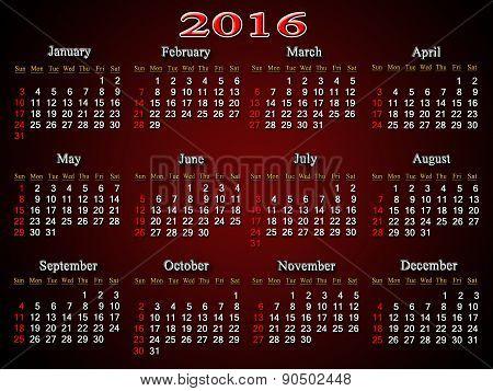 Claret Calendar For 2016