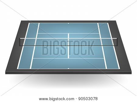 Vector Combinated Tennis Court With Netting