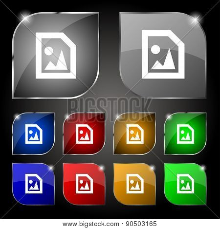 File Jpg Icon Sign. Set Of Ten Colorful Buttons With Glare. Vector