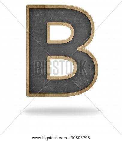 Black blank letter B shape blackboard