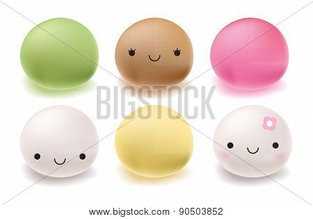 Japanese mochi rice dessert. Vector Set of sweets.