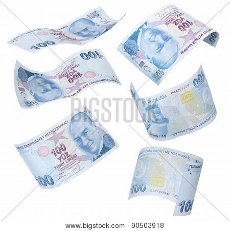 Flying 100 Turkish Liras on white background