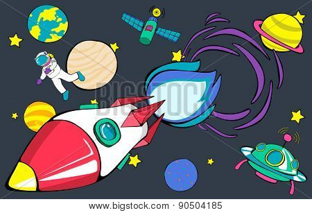 Rocket Launch Space Outer Space Planets Concept