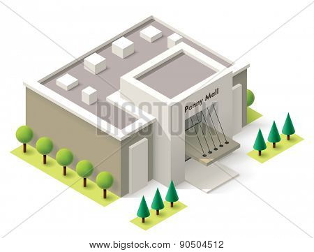 Vector isometric shopping mall building icon