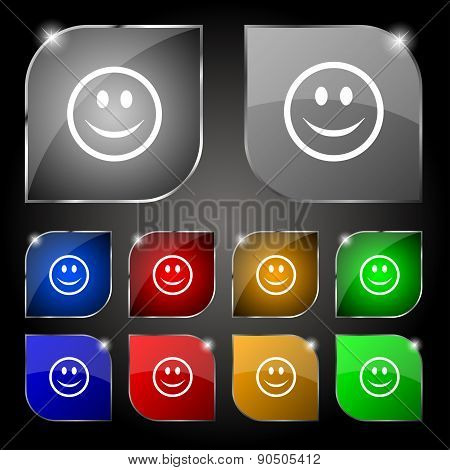 Smile, Happy Face Icon Sign. Set Of Ten Colorful Buttons With Glare. Vector