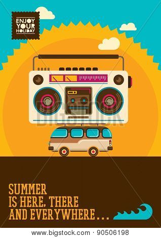 Comic summer poster. Vector illustration.