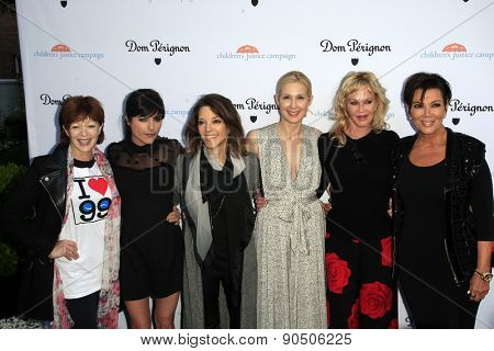 LOS ANGELES - MAY 12: F Fisher, S Blair, M Williamson, Kelly Rutherford, Melanie Griffith, Kris Jenner at the Children's Justice Campaign at a Private Residence on May 12, 2015 in Beverly Hills, CA