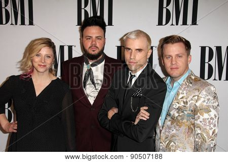 LOS ANGELES - MAY 12:  Neon Trees at the BMI Pop Music Awards at the Beverly Wilshire Hotel on May 12, 2015 in Beverly Hills, CA