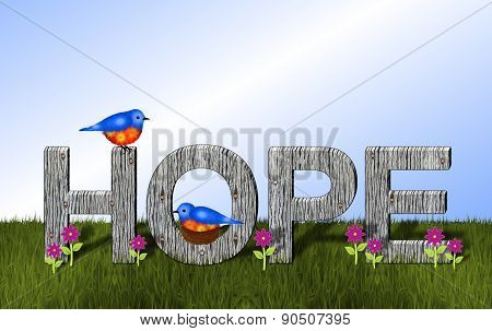 Bluebirds and Wooden Hope Background