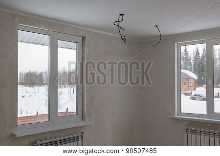 Rough Ground Coat Of Room With Two Windows