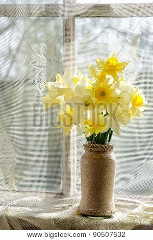 Bouquet Of The Fresh Narcissus On A Windowsill