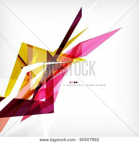 Angular geometric color shapes, abstract background, flyer or brochure template
