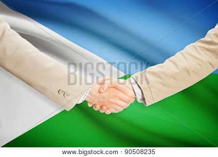 Businessmen Handshake With Flag On Background - Djibouti