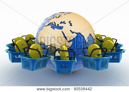 E-sign e-commerce shopping baskets around the globe on a white background. The concept of the consumer, to buy online in the whole world.