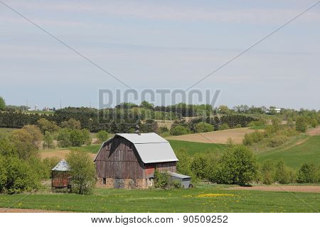 Rural Landscape Faded Barn and Fields