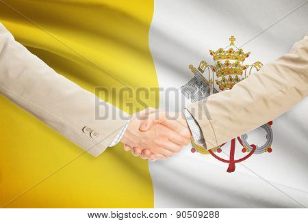 Businessmen Handshake With Flag On Background - Vatican City