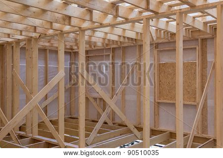 Unfinished Wooden Rail Of Frame House