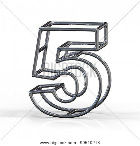 number 5 isolated on white background