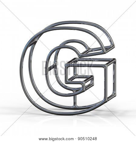 3D alphabet, metal letter G isolated on white background