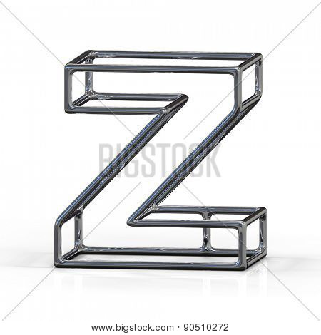 3D alphabet, metal letter Z isolated on white background