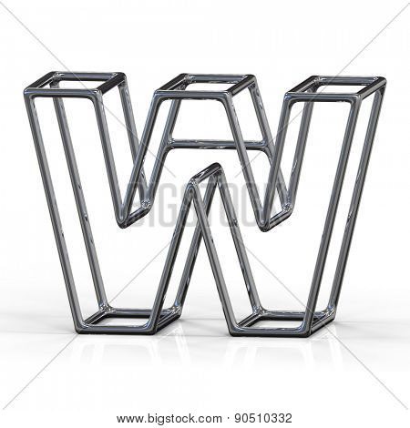 3D alphabet, metal letter W isolated on white background