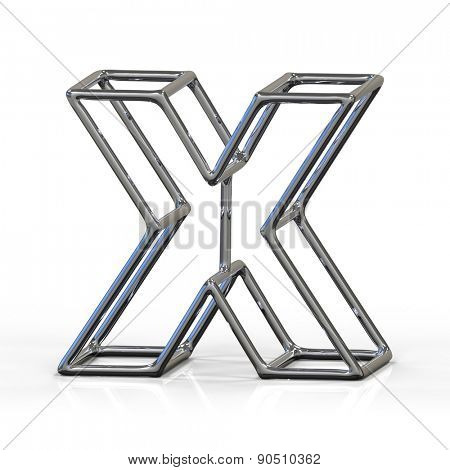 3D alphabet, metal letter X isolated on white background