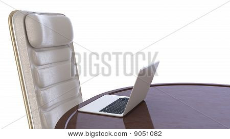 Labtop On Table And Chair