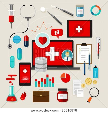 health medical icon set vector illustration flat