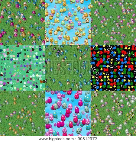 Set of Easter Grass With Eggs Seamless Textures