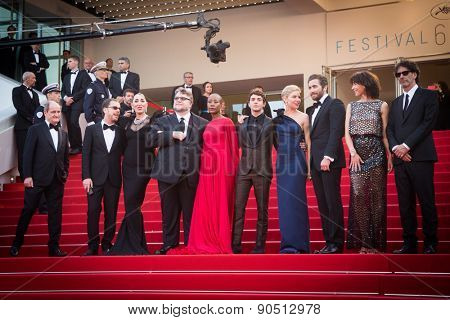 CANNES, FRANCE - MAY 13: Jury. Opening Ceremony 'La Tete Haute' Premiere. 68th Annual Cannes Film Festival at Palais des Festivals on May 12, 2015 in Cannes, France.