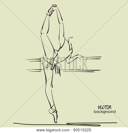 art sketched beautiful young ballerina in tights high raised her leg ballerina in class at ballet barre. Vector illustration
