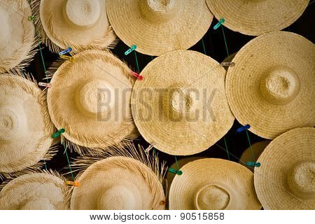 Display of beautiful straw hats