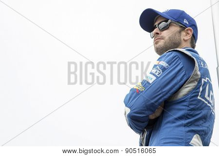 Bristol, TN - Apr 17, 2015:  Jimmie Johnson (48) watches practice for the Food City 500 at Bristol Motor Speedway in Bristol, TN.