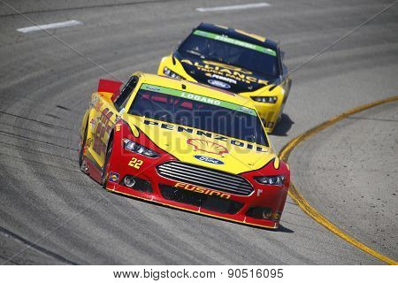 Richmond, VA - Apr 24, 2015:  Joey Logano (22) wins the pole for the Toyota Owners 400 race at the Richmond International Raceway in Richmond, VA.