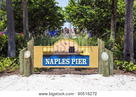 Sign And Symbol For The Famous Naples Pier In Florida