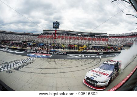 Bristol, TN - Apr 18, 2015:  Joey Logano (22) wins the Drive to Stop Diabetes 300 at Bristol Motor Speedway in Bristol, TN.