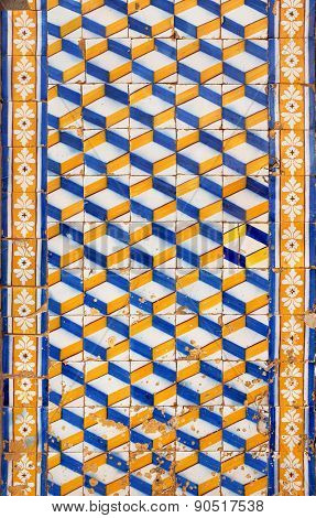 Pattern of ancient blue and yellow portuguese tiles