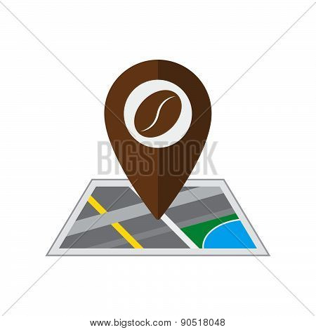 Coffee Pin On Coordinated Map Location Vector Illustration