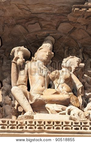 Stone Carved Erotic Sculptures On Javari Temple. Khajuraho