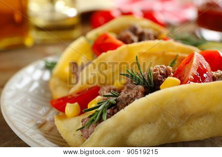 Mexican food Tacos in plate, closeup