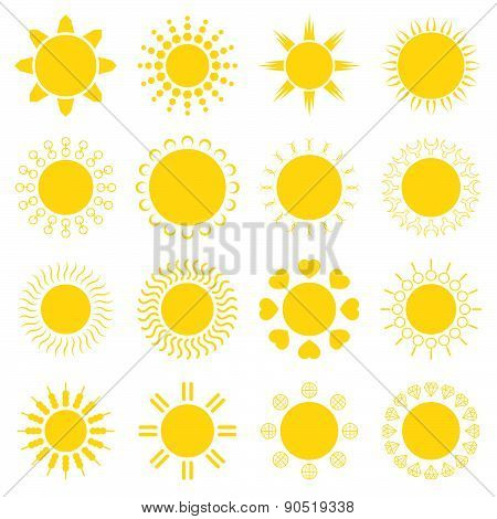 Sun Icons Set Vector Illustration