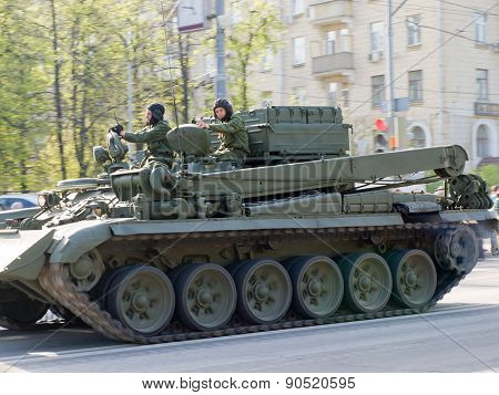 Tank driving on the streets of Moscow in the May 9 Victory Day
