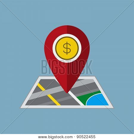 Money Pin On Map Vector Illustration